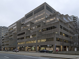20170212. The brutalist blockiness of 55 St. Clair West (Esso Place, WZMH Architects, 1981).