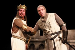 """Gary Beach (left) as King Arthur and Mika Duncan as Sir Lancelot in the 2010 Music Circus premiere of the Tony Award-winning Best Musical """"Monty Python's Spamalot"""" at the Wells Fargo Pavilion, July 9-18.  Photo by Charr Crail."""