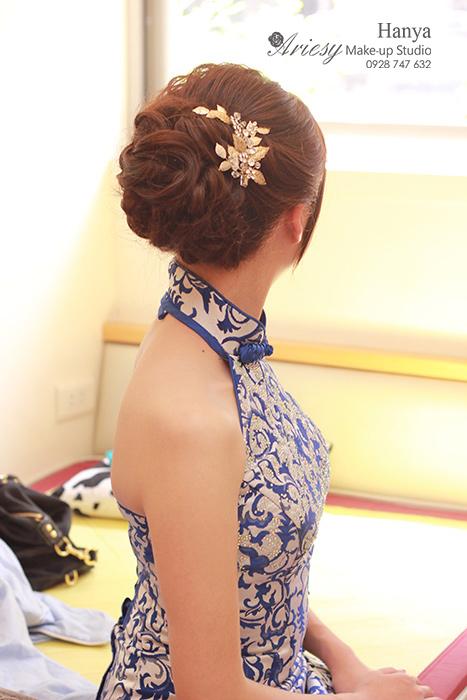 愛瑞思造型團隊,造型師Hanya,台北新秘,新娘秘書,新娘造型,旗袍造型,手工新娘飾品蓬鬆包頭,新秘推薦