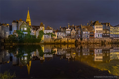 Evening on the river (Beardy Git) Tags: city longexposure houses sunset france reflection water night river evening indre dusk wideangle 1020mm buldings creuse argenton argentonsurcreuse canoneos7d