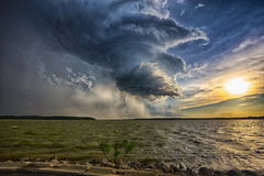 Storm over the Lake (Kansas Poetry (Patrick)) Tags: storm kansas thunderstorm stormclouds lawrencekansas clintonlake tornadicweather patrickemerson patricknancyforever