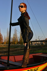 Cora 18 (The Booted Cat) Tags: sexy red hair model girl woman leather boots cowboyboots leggins jacket