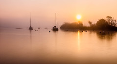 winter sunrise with mist (Anthony White) Tags: christchurch england unitedkingdom gb riverstour river mist fog sunrise orangesunrise boats water 2016 sonyalpha yacht nature morning bay art contrast december