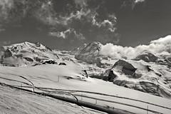 White forever. Monte Rosa,the Liskamm Mountain and the Grenzgletscher. Taken on the ski season on the famous Gornergrat,  ,No. 4527. (Izakigur) Tags: zermatt glacier switzerland matterhorn klein gornergrat trainstation snow white blackwhite monterosa schwyz suïssa suizo swiss svizzera سويسرا laventuresuisse lepetitprince myswitzerland landscape alps alpes alpen suiza suisse suisia schweiz ch lasuisse musictomyeyes nikkor nikon helvetia liberty izakigur flickr feel europe europa dieschweiz nikond700 nikkor2470f28 kantonwallis wallis valais cantonduvalais winter