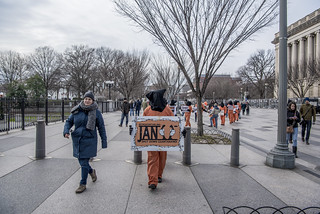 Marie Shebeck Leads Anti-Torture Protesters on a March to the White House