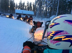 Ready to roll on the snowmobiles