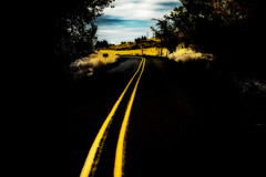 """and There's no Goin' Back"" (garshna) Tags: road highway yellow yellowline dark black"