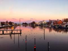 The harbour quarter of Greifswald-Wieck, Vorpommern, on the Baltic Sea coast (echumachenco) Tags: iphone deutschland germany mecklenburgvorpommern reflection water sunset evening balticsea ostsee greifswald