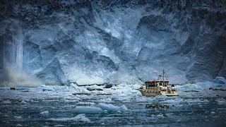 Crashing glacier wall in Greenland