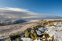 January Snow 2017 027 - Buckstones above Marsden (Mark Schofield @ JB Schofield) Tags: huddersfield pennines pennineway moors moorland peat nationalpark thenationaltrust marsden scammonden pulehill marchhaigh wessenden wessendenvalley meltham wessendenhead reservoir water watershed snow winter landscape bog rock ice outdoors open space panoramic canon 5dmk3 holmemoss mast