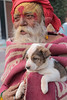 Puppy Love (peterkelly) Tags: digital india asia canon 6d encarnado orchha oldman puppy red blanket beard turban