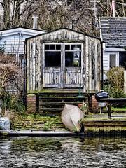 Beside the Thames (Gilder Kate) Tags: panasoniclumixdmctz70 panasoniclumix panasonic lumix dmctz70 tz70 thethames boathouse shed canoe riverthames thames river hdr teddington ham january