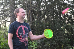 An Evening Game of Catch (Vegan Butterfly) Tags: people person camp camping outside outdoor play playing catch ball family game man dad daddy father