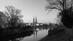Church tower reflections (Kathryn_Stephens) Tags: church poland refelections river city europe wroclaw wrocław canon bnw