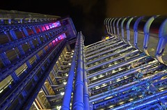 The City - EC3 (Malcolm Edwards) Tags: london malc ec3 thecity cityoflondon night lookingup lloydsbuilding lloydsoflondon limest leadenhallst