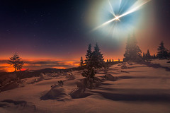 Insomnia (Bonnie And Clyde Creative Images) Tags: landscapes canon mountains nightscape night moon winter wideangle light snow