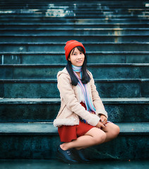 Stairs (Sài Gòn - 01665 374 974) Tags: girl fuji 35mm dof bokeh stairs red blue constrast people woman portrait pretty beauty daylight light outdoor asia vietnam natural