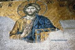 Detail of Mosaic in Hagia Sofia, Istanbul, Turkey, 1989 (deemixx) Tags: turkey istanbul hagiasofia christian mosaic church christ middleeast