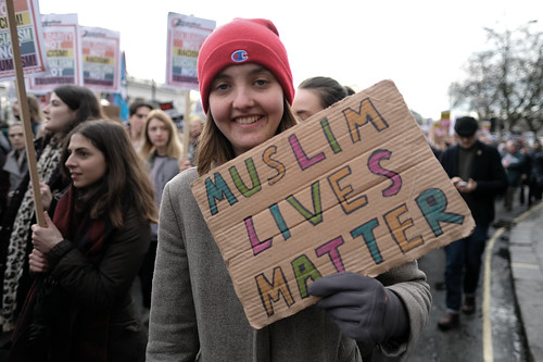 Muslim lives matter - placard at anti-Trump ban demo.