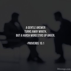 "LifeSongs Uplifting Word: ""A #gentle #answer turns away #wrath, but a harsh #word stirs up #anger."" - Proverbs 15:1  #Bible #quotes #inspirational #motivational #positive #uplifting #truth #God #Christian #gospel #kindness #selfcontrol #NOLA #radio #LifeS"