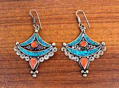 FREE SHIPPING Coral Turquoise Stone Earring,Nepali Tibetan Earring,Turquoise Jewelry,Bohemian,Carved Ethnic Earring,Gypsy,Retro Boho Earring (CraftEast) Tags: coral festival stone vintage dance handmade antique turquoise hippy jewelry tribal jewellery belly hippie tibetan earrings etsy boho ethnic gypsy bohemian himalayan nepali