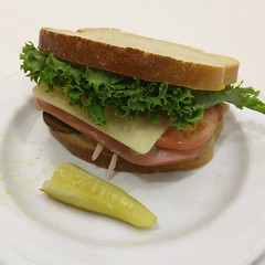 I made a sandwich with a half eaten pickle!