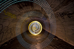 More culvert orby spirally stuff (- Hob -) Tags: longexposure brown white lightpainting abandoned yellow underground spiral raw arch orb tunnel led tyneside culvert airraidshelter 5460