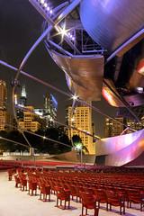 Pritzker Pavilion, Chicago (snejana.iordanova) Tags: summer music chicago architecture night lights nightlights loop architect millenniumpark bandshell frankgehry pritzkerpavilion summernight jaypritzkerpavilion musicvenue pritzkermusicpavilion willistower