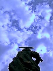 Follow Me To Heaven / Acompame Al Cielo (mediterraneobcn) Tags: barcelona travel blue sky sculpture espaa cloud color colour monument saint statue azul spain europa europe catholic exterior outdoor monumento faith religion bcn perspective july catalonia christian escultura viajes cielo julio perspectiva fe saintpaul estatua nube santo catalua openair sanpablo raval cristiana airelibre catlica 2015 religin barcelonaexperience mediterraneobcn domingocalvo