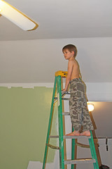 painting22 (babyfella2007) Tags: jason taylor painting house carson grant green room roller brush ladder child young boy helping beard face winnsboro sc south carolina southern children work working color
