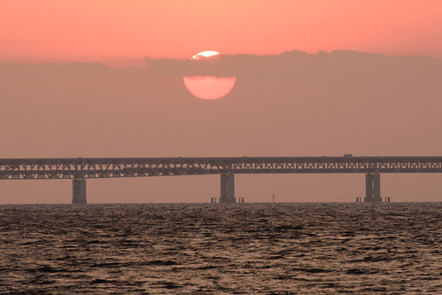 関空・夕景6・Sunset over Kanku Airport Bridge