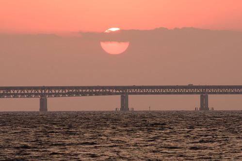 関空・夕景6・Sunset over Kanku Airport Bridge