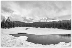 Hailing Christmas (writing with light 2422 (Not Pro)) Tags: hailingchristmas reflectionlake mountrainiernationalpark mountrainier stratovolcano richborder sonya77 merrychristmas hail snow peace landscape bw monochrome