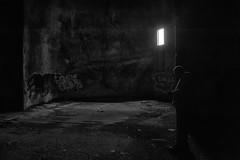 Inside The Hallowed Confines (Brian Rome Photography) Tags: urbax urbanexploration explore travel buffalo grainsilo silo waterfront inside light shadow abandoned photo photograph nikon graffitti looking checking silloette
