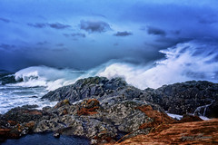 Storm waves at Flø (Usstan) Tags: wind nikon winter møreogromsdal mountains day ulstein norway seasons blue sunnmøre cliff d750 2470mm lens sigma westcoast seaspray noon outdoor rough flø rocks storm waves locations sea ocean cold water motion sky clouds colors seascape landscape rain costal norge