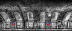 Baker Street Tube B&W (iankent1963) Tags: bakerstreet underground tube blackwhite selectivecolour hdr london nikond5100 sigma architetecure arches city capital