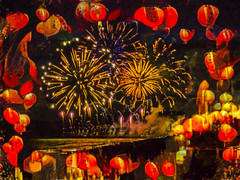 It Must Be the Chinese New Year (Steve Taylor (Photography)) Tags: chinese newyear lanterns art abstract digital black brown yellow orange pacific ocean sea waves bangbang crowd fireworks pyrotechnics smoke