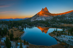 Cathedral Sunset (Jaykhuang) Tags: sunset mountain water reflections yosemitepark cathedrallake uppercathedrallake jayhuangphotography