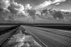 Salinas Valley Road and Farm Fields_Spring Rains (ronc316) Tags: sunset bw food storm wet water monochrome rain clouds landscape puddle spring farm telephone country farming pole salinas soil dirt lettuce wires valley electricity fields crops poles asphalt electrical puddles rainfall steinbeck sprinklers califorina