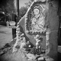 Just Up The Road (LowerDarnley) Tags: newmexico southwest coffee sign statue holga mural shrine religion espresso nm chimayo elsantuariodechimayo