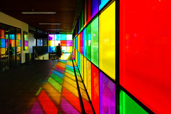 Gorgeous railway station passage (ShiyuZhuang) Tags: city urban sunlight color reflection wall architecture copenhagen denmark railwaystation passage herlev penetrating herlevstation