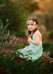 Flower Child (Portraits by Suzy) Tags: las vegas flowers blue light sunset summer urban baby sun flower cute green colors girl beautiful beauty childhood fashion yellow garden back kid spring model toddler warm photographer child natural bokeh 135l