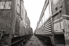 Passageway Through The Past (LostOzarkRambler) Tags: railcars train railroad rust abandonment monochrome blackandwhite bw 28mm nikond800