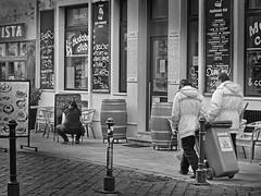 Cafe Studio (heinzkren) Tags: bratislava cafe studio club city müllabfuhr lokal bar people leute street strase innenstadt plakat werbung litter litterservice pressburg restaurant advertising slowakei hauptstadt capital capitalcity outdoor bw blackandwhite biancoetnero monochrom