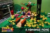 A Romantic Picnic in Brick Street Park (EVWEB) Tags: lego minifigure fun happy life romantic picnic teddy bera sandwich chocolate tree flowers 40236 valentines day balloon bridge corner heart green monorail bird