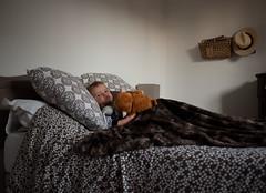 The King of the bed (Dahrth) Tags: gf1 gf120 gf120mm lumixgf1 panasoniclumixgf1 20mmpancake boy littleboy kid lit peluche singe stuffedmonkey