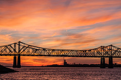 Interstate Bridge (Zack Mensinger) Tags: natchez mississippiriver mississippi canon40d 2016 south southernunitedstates sunset sunsetcolor