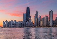 Chicago (abso847) Tags: chicago skyline sunrise city building color lake michigan slow shutter olympus red pink purple orange blue drake hancock center trump tower scenery water north avenue beach view