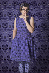 Day 3638 (evaxebra) Tags: wh wah haunted mansion wallpaper dress leggings poprageous purple camouflage shhh glasses