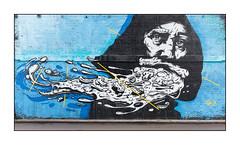 Street Art (Sr.X), East London, England. (Joseph O'Malley64) Tags: srx senorx streetart urbanart graffiti eastlondon eastend london england uk britain british greatbritain art artist artistry artwork mural muralist wallmural wall walls brickwork bricksmortar pointing victorianstructure steelfixings brackets pavement accesscover granitekerbing tarmac redroute nostoppingatanytime urban urbanlandscape vomit fujix accuracyprecision